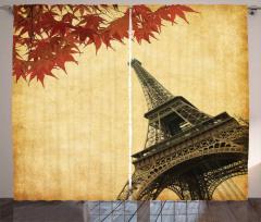 Eyfel Kulesi ve Yapraklar Fon Perde Romantik