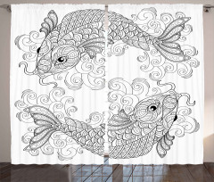 Siyah Beyaz Koi Balığı Fon Perde Şık Tasarım