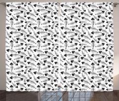 Balık Kılçığı Desenli Fon Perde Siyah Beyaz Şık