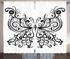 Aşk Kelebeği Desenli Fon Perde Siyah Beyaz Kalpli