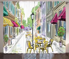 Barlar Sokağı Temalı Fon Perde Rengarenk Trend