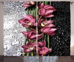 Çiçek ve Su Damlası Temalı Fon Perde Pembe Trend