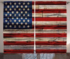 Amerikan Bayrağı Fon Perde Ahşap Dokulu