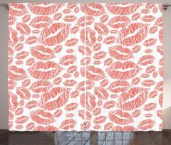 Kırmızı Dudak Desenli Fon Perde Dekoratif Şık