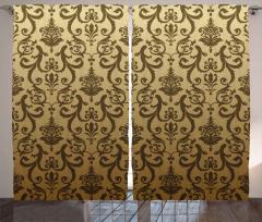 Barok Çiçek Süslemeli Fon Perde Kahverengi Şık
