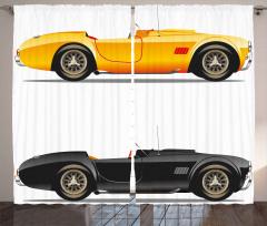 Spor Araba Desenli Fon Perde Sarı Siyah Trend