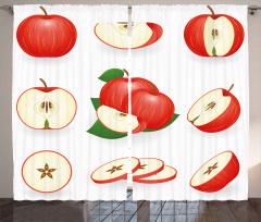 Kırmızı Kesik Elmalar Fon Perde Mutfak Dekoru