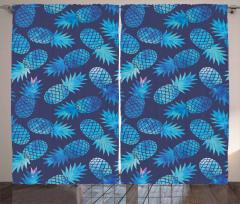 Mavi Ananas Desenli Fon Perde Sulu Boya Efektli