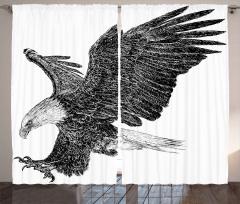 Uçan Kartal Desenli Fon Perde Siyah Beyaz Şık
