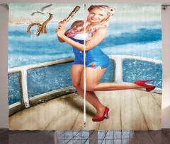 Denizci Kız Temalı Fon Perde Mavi Şık Tasarım