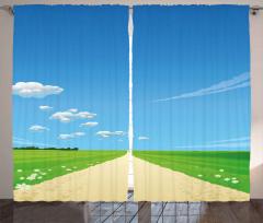 Papatyalı Kır Yolu Fon Perde Mavi Gökyüzü