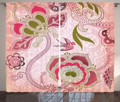 Pembe Kuş ve Çiçek Fon Perde Şal Desenli Şık