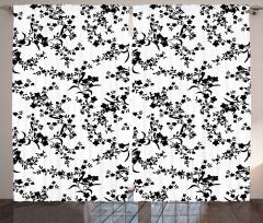 Zarif Çiçekli Desen Fon Perde Siyah Beyaz Şık