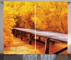 Sarı Orman ve Köprü Temalı Fon Perde Şık Tasarım