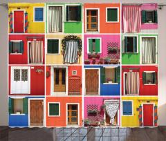 Rengarenk Kapı Temalı Fon Perde Şık Tasarım Trend