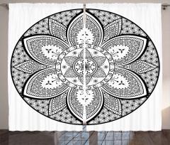 Siyah Beyaz Mandala Fon Perde Dekoratif
