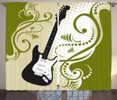 Dekoratif Gitar Desenli Fon Perde Şık Tasarım
