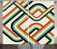 Retro Çizgili Desenli Fon Perde Duvar Kağıdı Şık