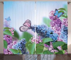 Kelebek ve Çiçek Desenli Fon Perde Mor Mavi Trend