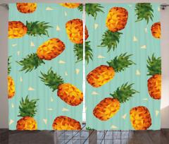 Üçgenli Ananas Desenli Fon Perde Şık Tasarım
