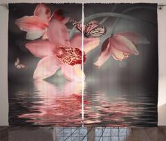 Pembe Çiçek ve Kelebek Desenli Fon Perde Trend Su