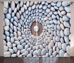 Çakıl Taşları Desenli Fon Perde Gri Şık Tasarım