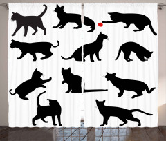 Kedi Silüetleri Desenli Fon Perde Siyah Beyaz