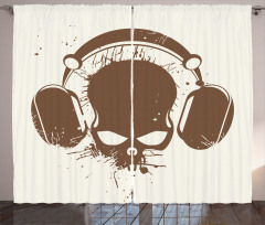 Kulaklıklı Kuru Kafa Fon Perde Müzik Trend