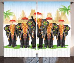 Şemsiyeli Fil Desenli Fon Perde Hint Etkili Şık