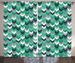 Geometrik Oklu Desen Fon Perde Yeşil Gri Beyaz