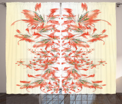 Pembe Çiçek Desenli Fon Perde Sarı Yeşil Çeyizlik