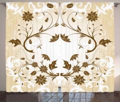 Kahverengi Şık Çiçek Fon Perde Dekoratif