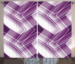 Mor Beyaz Soyut Desenli Fon Perde Geometrik