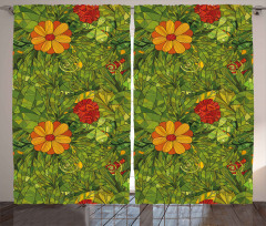 Yeşil Girdap Çiçekleri Fon Perde Şık Tasarım