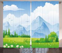 Çayırdaki Çiçek ve Dağ Fon Perde Bulut Yeşil