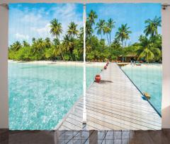 Palmiye Turkuaz Deniz Fon Perde Tropikal