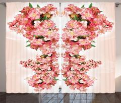 Pembe Çiçek Desenli Fon Perde Çeyizlik Şık Tasarım