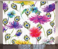 Çiçek Desenli Fon Perde Mor Mavi Şık Çeyizlik