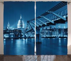 Modern Köprü ve Şehir Fon Perde Nostaljik Şık