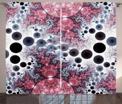 Rengarenk Küre Desenli Fon Perde Kırmızı Siyah