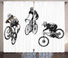 Akrobat Bisikletçiler Fon Perde Kara Kalem