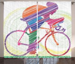 Renkli Bisikletçi Çimen Fon Perde Sanatsal