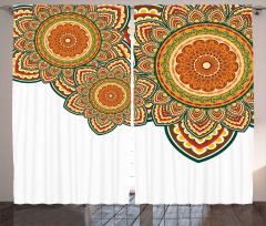 Rengarenk Üç Mandala Fon Perde Dekoratif