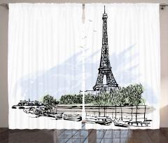 Eyfel Kulesi ve Tekne Fon Perde Paris