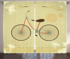 Nostaljik Bisiklet Fon Perde Dekoratif