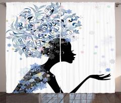 Saçında Çiçek Açan Kız Fon Perde Dekoratif