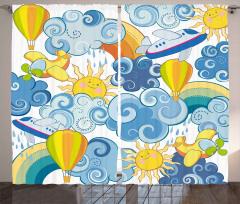 Bulut Güneş ve Uçaklar Fon Perde Sevimli