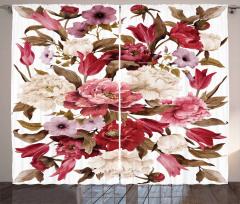 Çiçek Desenli Fon Perde Pembe Kahverengi Trend