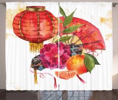 Kırmızı Çiçek ve Meyve Desenli Fon Perde Trend