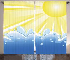 Dalga ve Su Damlaları Fon Perde Güneş